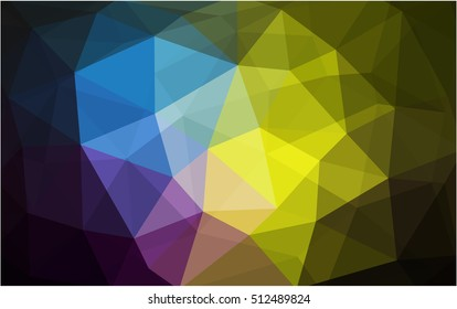 Dark multicolor polygon abstract pattern. A sample with polygonal shapes. The completely new template can be used for your brand book.