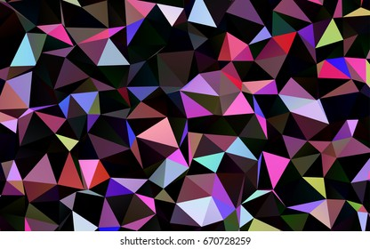 Dark Multicolor, Rainbow vector abstract mosaic template. A completely new color illustration in a vague style. The best triangular design for your business.