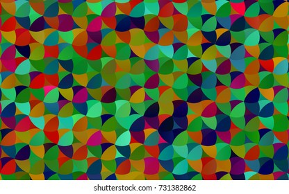 Dark Multicolor, Rainbow vector abstract pattern with circles. Geometry template for your business design. Background with colored spheres.