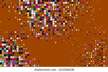 Dark Multicolor, Rainbow vector backdrop with dots. Glitter abstract illustration with blurred drops of rain. Pattern for beautiful websites.