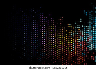 Dark Multicolor, Rainbow vector backdrop with dots. Glitter abstract illustration with blurred drops of rain. Completely new template for your brand book.