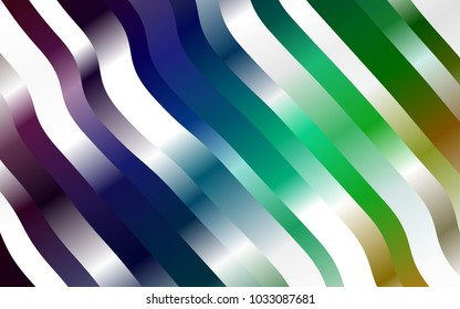 Dark Multicolor, Rainbow vector background with abstract lines. Shining illustration, which consist of blurred lines, circles. Marble style for your business design.