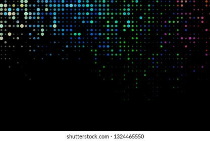 Dark Multicolor, Rainbow vector background with bubbles. Abstract illustration with colored bubbles in nature style. Pattern for ads, booklets.