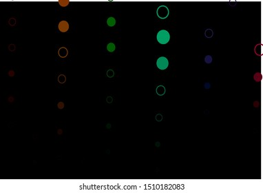 Dark Multicolor, Rainbow vector background with bubbles. Modern abstract illustration with colorful water drops. Pattern of water, rain drops.