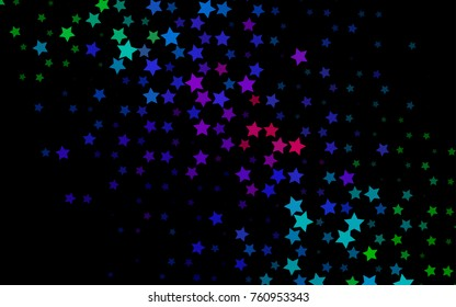 Dark Multicolor, Rainbow vector background with colored stars. Decorative shining illustration with stars on abstract template. The template can be used as a background.