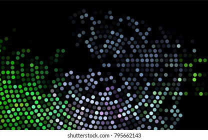 Dark Multicolor, Rainbow vector banner with circles, spheres. Abstract spots. Background of Art bubbles in halftone style with colored gradient.