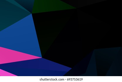 Dark Multicolor, Rainbow vector blurry triangle background. A sample with polygonal shapes. The polygonal design can be used for your web site.