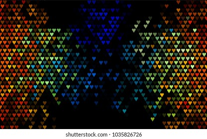 Dark Multicolor, Rainbow vector hearts isolated on white background. Cool pattern in origami style with gradient for Valentine day. Graphic illustration for your business design.