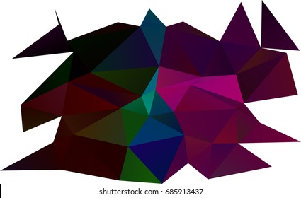Dark Multicolor, Rainbow vector low poly background. Triangular geometric sample with gradient.  Triangular pattern for your business design.