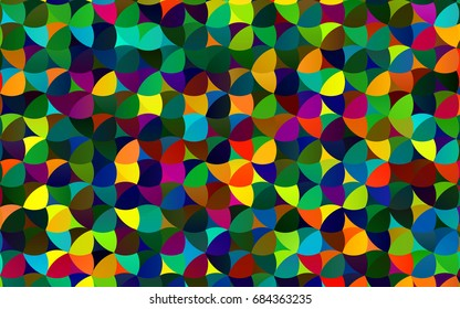 Dark Multicolor, Rainbow vector modern geometrical circle abstract background. Dotted texture template. Geometric pattern in halftone style with gradient.