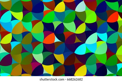 Dark Multicolor, Rainbow vector pattern with colored spheres. Geometric sample of repeating circles on white background in halftone style.