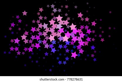 Dark Multicolor, Rainbow vector pattern with christmas stars. Blurred decorative design in simple style with stars. Best design for your ad, poster, banner.