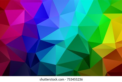 Dark Multicolor, Rainbow vector polygon abstract template. A completely new color illustration in a vague style. A completely new design for your business.