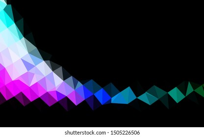 Dark Multicolor, Rainbow vector shining triangular background. Triangular geometric sample with gradient.  Triangular pattern for your business design.