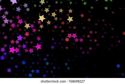 Dark Multicolor, Rainbow vector template with sky stars. Glitter abstract illustration with colored stars. The template can be used as a background.