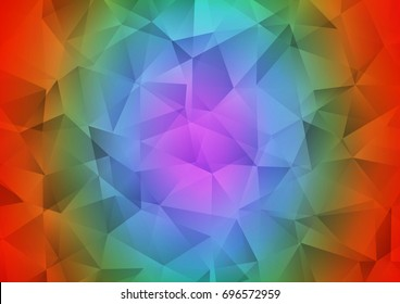 Dark Multicolor, Rainbow vector triangle mosaic background. A vague abstract illustration with gradient. A new texture for your design.