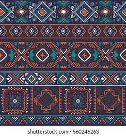 dark multicolor tribal vector seamless pattern with doodle elements. aztec fancy abstract geometric art print. ethnic hipster background. retro hand drawn.  Wallpaper, cloth design, fabric, textile