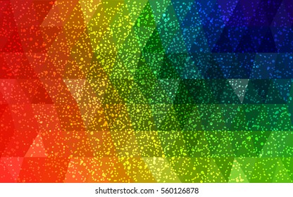 Dark Multicolor vector christmas polygon background. Low poly Illustration consisting of triangles with snowflakes. Texture, seamless background of New Year celebration.