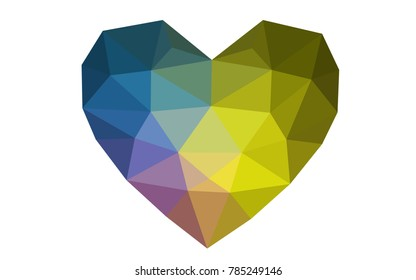 Dark Multicolor vector heart isolated on white background. Geometric rumpled triangular low poly origami style gradient graphic illustration. Polygonal design for your business.