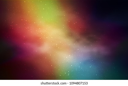 Dark Multicolor vector pattern with night sky stars. Glitter abstract illustration with colorful cosmic stars. Template for cosmic backgrounds.
