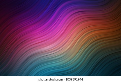 Dark Multicolor vector template with bent lines. A sample with blurred bubble shapes. Marble style for your business design.