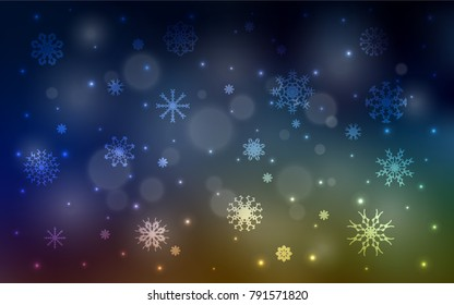Dark Multicolor vector template with ice snowflakes. Blurred decorative design in xmas style with snow. The pattern can be used for new year leaflets.