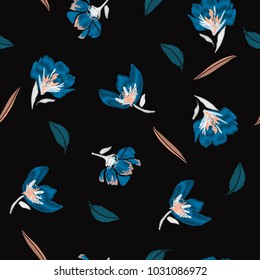 A dark night floral Embroidery flowers, spring seamless pattern. Classical blooming embroidery leaves, spring floral, seamless pattern. Fashionable template for design of clothes,design on black back