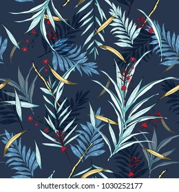 Dark night Hawaii print vector seamless beautiful artistic Bright summer tropical pattern with exotic forest. Colorful original stylish floral mix with leaves  background , on dark navy blue