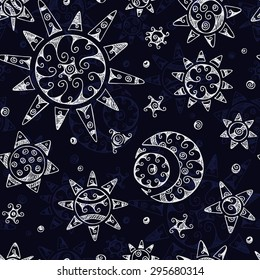 Dark Night Seamless pattern with Ethnic Sun, Moon (Crescent) and Stars. Hand drawn vector doodle illustration.