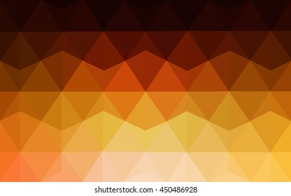 Dark orange blurry triangle background. Brand-new colored illustration in blurry style with gradient. Triangular pattern for your business design.