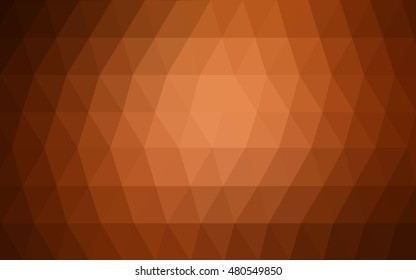 Dark orange blurry triangle background. Colorful abstract illustration with gradient. A new texture for your design.