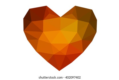 Dark orange heart isolated on white background. Geometric rumpled triangular low poly origami style gradient graphic illustration. Vector polygonal design for your business.