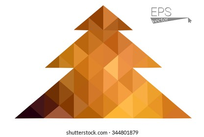 dark orange low poly style christmas tree vector illustration consisting of triangles .  triangular polygonal origami or crystal design of New Years celebration. Isolated on white background.