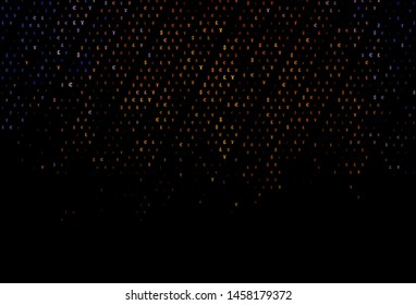 Dark Orange vector cover with EUR, JPY, GBP signs. Shining colored illustration with EUR, JPY, GBP signs. Best design for your ad, poster, banner of money.