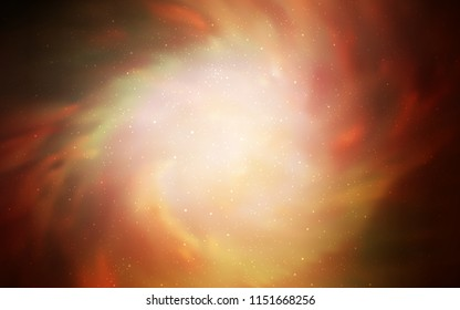 Dark Orange vector layout with cosmic stars. Blurred decorative design in simple style with galaxy stars. Pattern for futuristic ad, booklets.