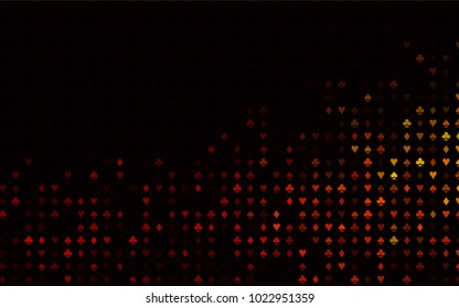 Dark Orange vector template with poker symbols. Colored illustration with hearts, spades, clubs, diamonds. Pattern for leaflets of poker games, events.