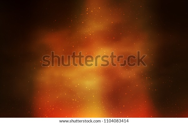 Dark Orange vector texture with milky way stars. Shining colored illustration with bright astronomical stars. Template for cosmic backgrounds.