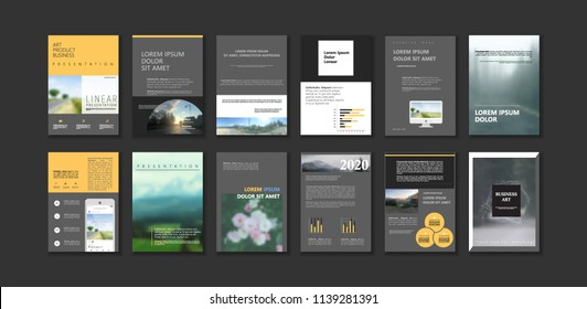 Dark Original Presentation templates or corporate booklet. Easy Use in creative flyer and style info banner, trendy strategy mockup. Simple modern Slideshow or Startup. ppt.