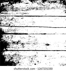 Dark Paint Weathered Texture. Abstract Dirty Creative Design Backdrop Element. Black And White Distressed Grunge Vector Overlay Template.