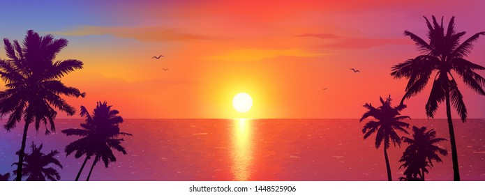 Dark palm trees silhouettes on colorful tropical ocean sunset background, vector illustration