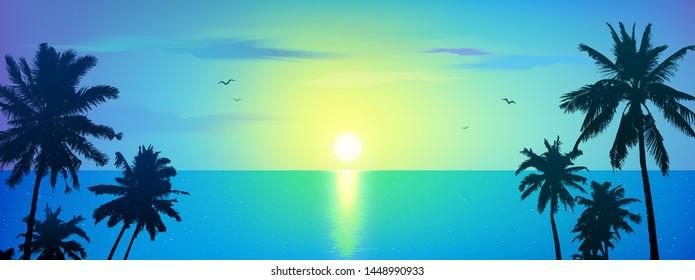 Dark palm trees silhouettes on blue ocean landscape background, vector banner illustration