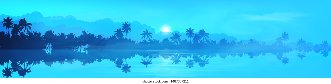 Dark palm trees silhouettes with water reflection in fog, blue vector tropical banner background