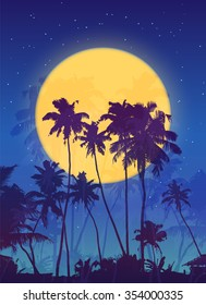 Dark palms silhouettes at big yellow moon, vector poster background
