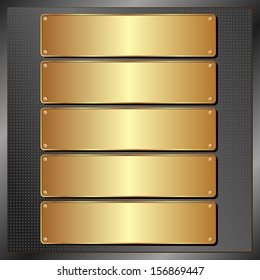 dark panel with five golden banners