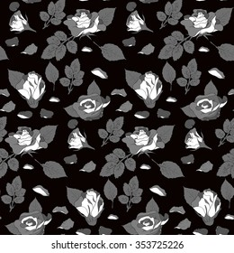 Dark pattern with roses ans roses leafs
