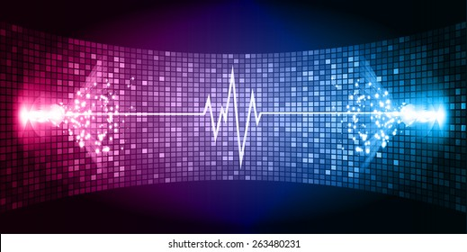 Dark Pink blue Sound wave background suitable as a backdrop for music, technology and sound projects. Blue Heart pulse monitor with signal. Heart beat.