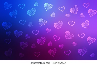 Dark Pink, Blue vector background with hearts. Hearts on blurred abstract background with colorful gradient. Template for Valentine's greeting postcards.