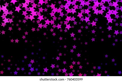 Dark Pink, Blue vector background with colored stars. Decorative shining illustration with stars on abstract template. The template can be used as a background.