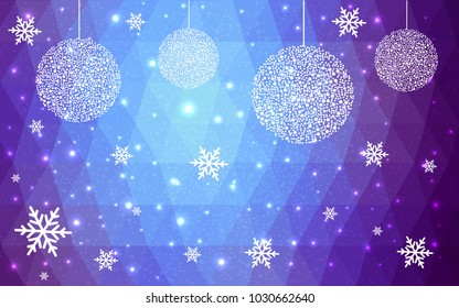 Dark Pink Blue vector christmas polygon background. Low poly Illustration consisting of triangles with snowflakes. Texture, seamless background of New Year celebration.