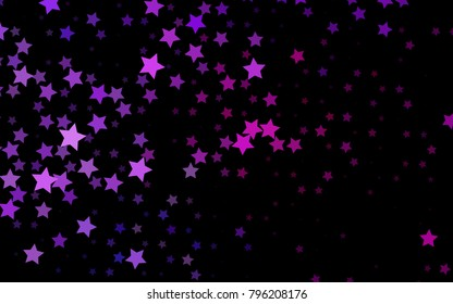 Dark Pink, Blue vector cover with small and big stars. Glitter abstract illustration with colored stars. The template can be used as a background.